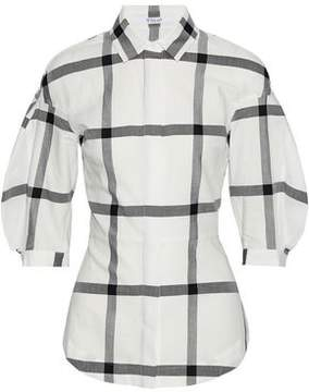 Derek Lam 10 Crosby Lace-Up Checked Cotton-Twill Blouse