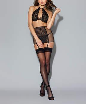 Dreamgirl Black Lace Halter Bra & Garter Skirt Set