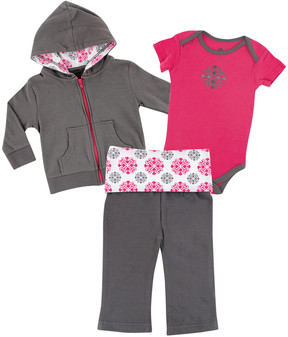 Luvable Friends Pink & Gray Medallion Hoodie Set - Newborn & Infant