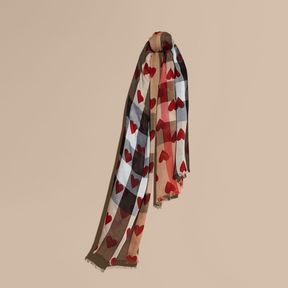 Burberry Heart and Check Modal and Cashmere Scarf
