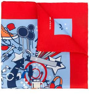 Kiton abstract print handkerchief