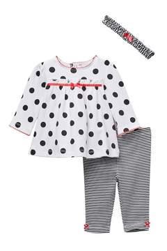 Little Me Dot & Stripe Tunic & Legging Set (Baby Girls)