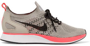 Nike Air Zoom Mariah Leather-trimmed Flyknit Sneakers - Gray