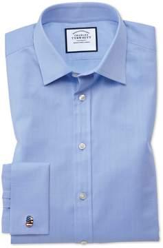 Charles Tyrwhitt Slim Fit Fine Herringbone Sky Cotton Dress Shirt Single Cuff Size 14.5/32