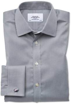Charles Tyrwhitt Classic Fit Non-Iron Puppytooth Dark Grey Cotton Dress Shirt French Cuff Size 15.5/35