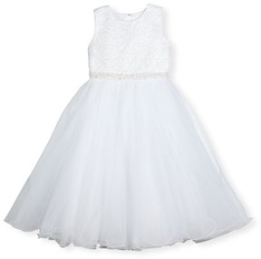 Joan Calabrese Sleeveless Embellished Satin & Tulle Special Occasion Dress, White, Size 5-14