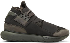 Y-3 Black and Green Qasa High Sneakers