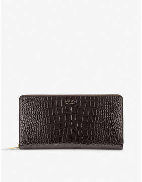 Smythson Brown Mara Crocodile Embossed Leather Travel Wallet