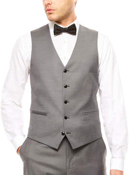 Jf J.Ferrar JF  Stretch Gray Sharkskin Vest Slim Fit
