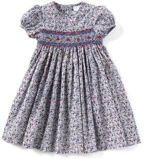Edgehill Collection Little Girls 2T-4T Printed Smocked Dress