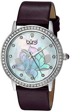 Burgi Mother Of Pearl Dial Ladies Purple Leather Watch