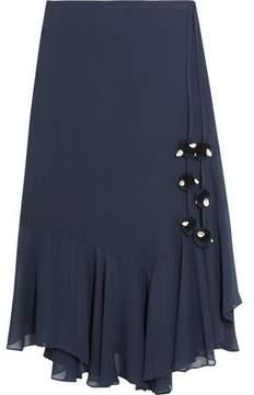 Figue Maxime Pompom-Embellished Silk-Georgette Skirt