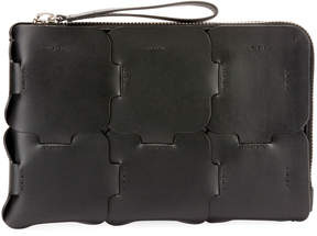 Paco Rabanne Zipped Leather Clutch Bag
