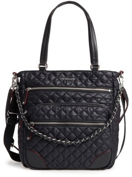 MZ Wallace Crosby Quilted Oxford Nylon Tote - Black