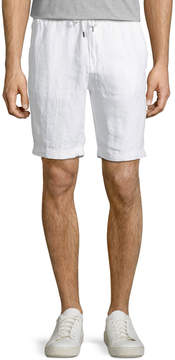 Neiman Marcus Drawstring Linen Shorts, White