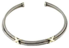 David Yurman Cable Two-Tone Double X Collar Necklace