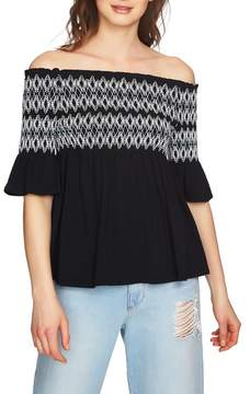 1 STATE 1.STATE Embroidered Smocked Off the Shoulder Top