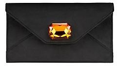 Tory Burch Velvet Jewel Envelope Pouch - BLACK - STYLE