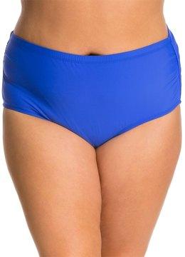 Athena Plus Size Cabana Solids MidWaist Shirred Side Bottom - 8127680