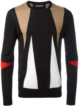 Neil Barrett intarsia geometric pattern jumper