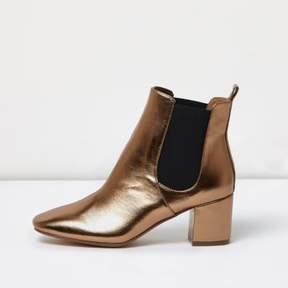 River Island Womens Bronze block heel Chelsea boots