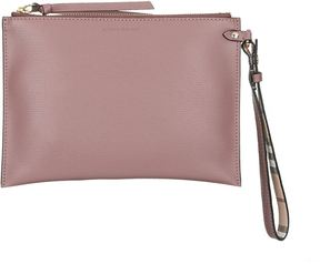 Burberry Grained Leather Pouch - PURPLE - STYLE