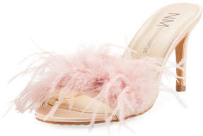 Neiman Marcus Vanity Slide Feather Mule