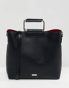 Aldo Olieni black minimal tote shopper bag with metal handle detail