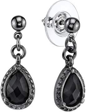 1928 Ball Stud Black Teardrop Earrings