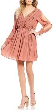 Chelsea & Violet C&V V Neck Long Sleeve Sequin Dress