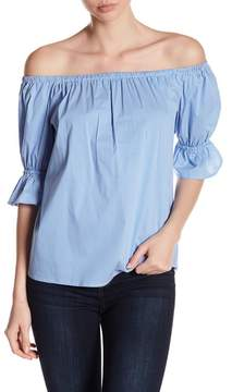1 STATE 1.State Off-the-Shoulder Smocked Striped Print Top