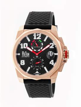 Reign Zhu Rose Gold-tone Stainless Steel Case Black Carbon Fiber Dial Black Silicone Strap Men's Watch