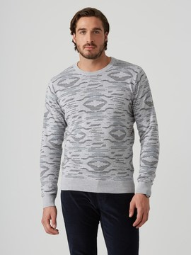 Frank and Oak Jacquard-Knit Cotton Sweater in Grey