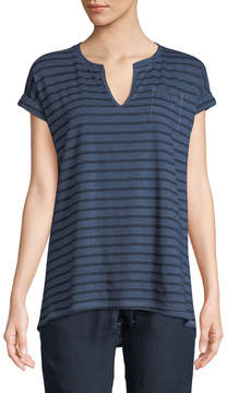Allen Allen Striped Roll-Sleeve Split-Neck Tee