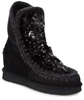 Mou Sheepskin Fur and Embellished Leather Ankle Boots