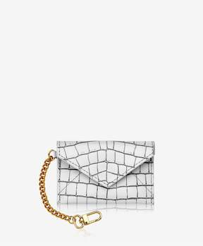 GiGi New York Mini Envelope With Clip In White Crocodile Embossed Leather