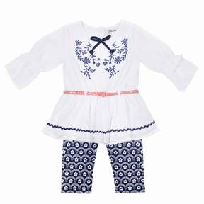 Little Lass Girls 4-6x Embroidered Peasant Top & Print Capris Set