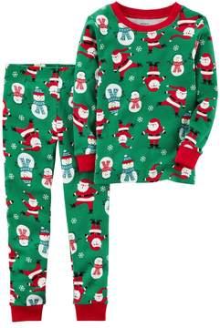 Carter's Baby Boy Santa & Snowman Top & Bottoms Christmas Pajama Set