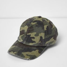 River Island Mens Green washed camo baseball cap