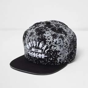 River Island Boys black 'original legend' flat peak cap