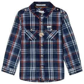Pepe Jeans Blue and Orange Stripe Daniel Check Shirt