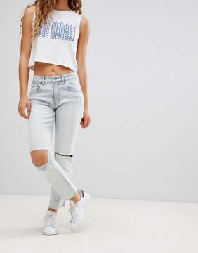 Cheap Monday Slim Fit Jean with Busted Knees and Raw Hem