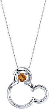 Disney Sterling Silver Mickey Mouse Pendant Necklace with Lab-Created Citrine