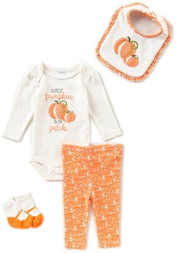 Starting Out Baby Girls Newborn-9 Months Thanksgiving Pumpkin Patch 4-Piece Layette Set