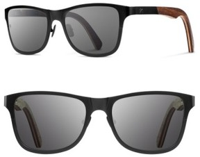 Shwood Men's 'Canby' 54Mm Titanium & Wood Sunglasses - Black/ Walnut