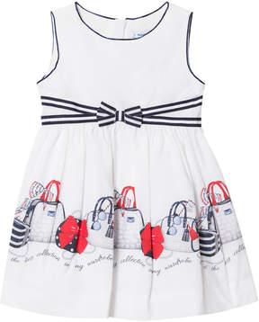 Mayoral White and Navy Handbag Dress