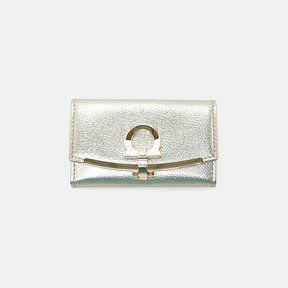Salvatore Ferragamo Gancio Clip Metallic Leather Key Case