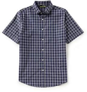 Murano Slim-Fit Plaid Performance Dobby Short-Sleeve Woven Shirt