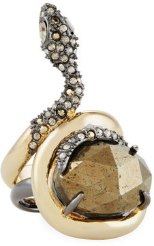 Alexis Bittar Coiled Crystal Snake Ring, Size 7