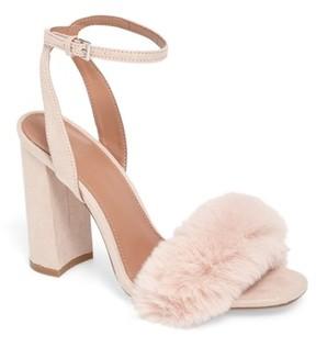 Topshop Women's Maison Faux Fur Block Heel Sandal